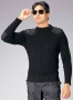 BLACK WOOL COMMANDO SWEATER